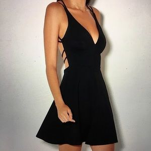Lulu's Believe in Love Black Backless Skater Dress